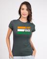Shop Love Peace Respect Half Sleeve T-Shirt - Nimbus Grey-Front