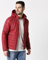 Shop Maroon Plain Puffer Jacket with Detachable Hood-Front