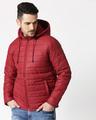 Shop Maroon Plain Puffer Jacket with Detachable Hood-Back