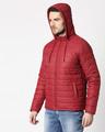 Shop Maroon Plain Puffer Jacket with Detachable Hood-Full