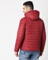 Shop Maroon Plain Puffer Jacket with Detachable Hood