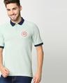 Shop Marvel Shield Camo Green Raglan Polo T-Shirts-Front