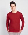 Shop Men's Plain Full Sleeve T-Shirt Pack of 2 (Bold Red)-Back