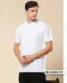 Shop Men's Linen Henley Neck Casual T-shirt-Front