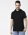 Shop Black Half Sleeve Hoodie T-shirt-Back