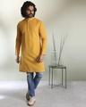 Shop Men's Solid Mustard Long Kurta-Back