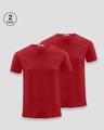 Shop Men's Plain Half Sleeve T-Shirt Pack of 2 (Bold Red)-Front