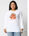 Shop Music Bear Full Sleeves Printed T-Shirt Plus Size-Front