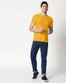 Shop Mustard Yellow Slub Henley T-Shirt-Full