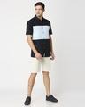 Shop Men's Linen Color Block Half Sleeves Shirt