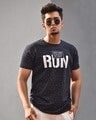 Shop Navy Blue Run Chest Printed Half Sleeves T Shirt-Front