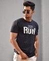 Shop Navy Blue Run Chest Printed Half Sleeves T Shirt-Back
