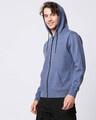 Shop Navy Melange Stylised Zipper Hoodie-Front