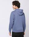 Shop Navy Melange Stylised Zipper Hoodie-Full