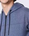 Shop Navy Melange Stylised Zipper Hoodie