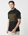 Shop Men's Linen Color Block Half Sleeves Shirt-Design