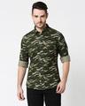 Shop Olive Camo Full Sleeve Camo Shirt-Back