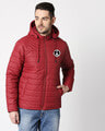 Shop Peace Logo Puffer Jacket with Detachable Hood-Front