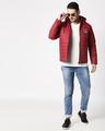 Shop Peace Logo Puffer Jacket with Detachable Hood-Full