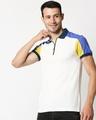 Shop White Shoulder Color Block Zipper T-Shirt-Front