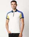 Shop White Shoulder Color Block Zipper T-Shirt-Back