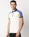 Shop White Shoulder Color Block Zipper T-Shirt-Design