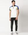 Shop White Shoulder Color Block Zipper T-Shirt