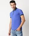 Shop Blue Shoulder Pipping Zipper T-Shirt-Design