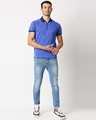 Shop Blue Shoulder Pipping Zipper T-Shirt