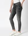 Shop Raven Black Blue Distressed Mid Rise Stretchable Women's Jeans-Back