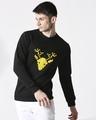 Shop Men Chest Printed Black Sweatshirt-Front
