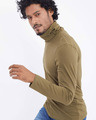 Shop Military Green Full Sleeves T Shirt With Face Cover-Back
