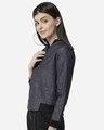 Shop Women Blue & Black Printed Lightweight Bomber Jacket-Design