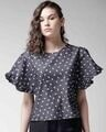 Shop Women Blue Printed Chambray Top-Front