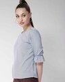 Shop Women White & Blue Striped Top-Back