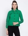 Shop Womens Green Solid Denim Jackets-Front