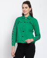 Shop Womens Green Solid Denim Jackets-Back