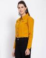 Shop Womens Mustard Solid Denim Jackets-Back