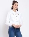 Shop Womens White Solid Denim Jackets-Back