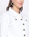 Shop Womens White Solid Denim Jackets