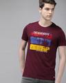 Shop Printed Men Round Neck Maroon T Shirt-Front