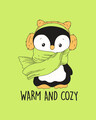 Shop WARM & COZY PENGUIN Half Sleeve Printed T-Shirt Neon Green -Full