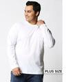 Shop White Plus Size Full Sleeve T-Shirt-Front