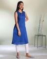 Shop Women's Cotton Swiss Dot Dobby Sleeveless Classic Blue Kurta with Belt Tie Up-Design