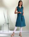 Shop Women's Cotton Swiss Dot Dobby Sleeveless  Kurta with Belt Tie Up-Front