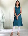 Shop Women's Cotton Swiss Dot Dobby Sleeveless  Kurta with Belt Tie Up-Back