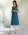 Shop Women's Cotton Swiss Dot Dobby Sleeveless  Kurta with Belt Tie Up-Design