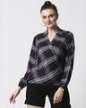 Shop Womens Checks Overlap Shirt Top-Back