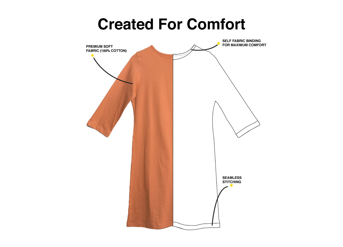 Minimal Marshmello Boat Neck 3/4th Sleeve T-Shirt Dress Description Image Website 1@Bewakoof.com
