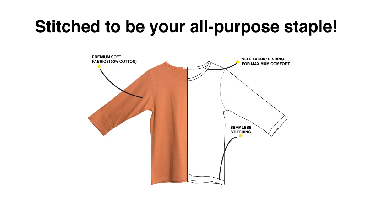 Relax Round Neck 3/4th Sleeve T-Shirt Description Image Website 1@Bewakoof.com